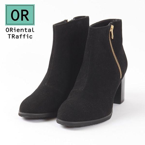【ORiental TRaffic】洗鍊率性金屬拉鍊短靴-洗鍊黑