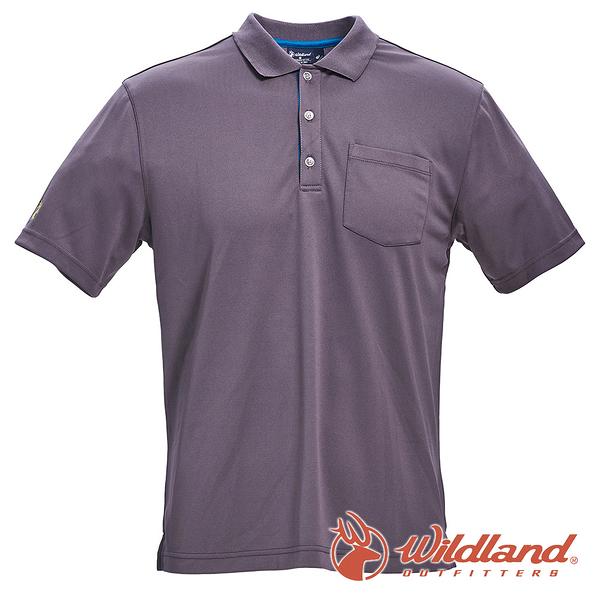 【wildland 荒野】男 椰炭紗YOKE領抗菌上衣『深灰』0A71652 T恤 POLO衫 上衣 男版 短袖 排汗 休閒
