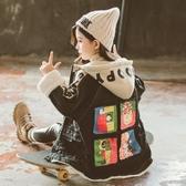 女童外套新款冬裝中大兒童中長款加絨牛仔衣洋氣秋冬風衣外套