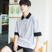 夏新款拼接假兩件短袖T恤男五分袖polo衫男士寬鬆翻領青少年學生