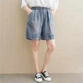 依多多 短褲 夏季貼布bf風大碼寬鬆顯瘦毛邊熱褲闊腿牛仔短褲