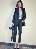 西裝套裝藏青色西服套裝女新款帥氣顯瘦小西裝休閒職業套裝韓版兩件套 米蘭