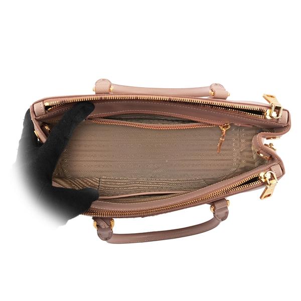 【PRADA】防刮牛皮雙拉鍊殺手包(小款)(藕粉色) PR19000044 BN1801 NZV CAMMEO