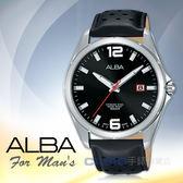 ALBA 雅柏 手錶專賣店   AS9D69X1 石英男錶 皮革錶帶 黑 防水100米 日期顯示 全新品 保固一年