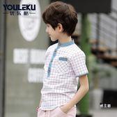 (萬聖節鉅惠)男童短袖襯衫優樂酷男童裝短袖襯衫正韓兒童半袖休閒立領襯衣夏裝中大童40209