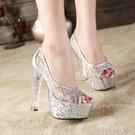 細跟高跟涼鞋 12~14cm厘米公分以上夏季蕾絲魚嘴高跟鞋爆款防水台粗跟女涼鞋潮 阿薩布魯