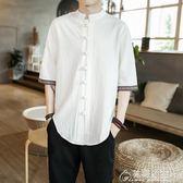襯衫-春夏季中國風亞麻t恤男短袖盤扣棉麻襯衫寬鬆男士襯衣 花間公主