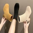 短靴 短靴女春秋針織粗跟單靴方頭彈力靴百搭網紅瘦瘦靴襪靴潮 晶彩 99免運