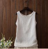 亞麻打底女背心大碼外穿無袖上衣吊帶薄款白色打底女棉麻寬鬆夏季   初見居家