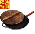 鑄鐵鍋-炒菜煎傳統手工鑄造長柄平底鍋3色...