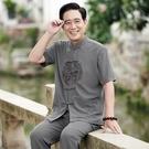 棉麻唐裝男短袖套裝中老年人夏裝爸爸60-70-80歲爺爺老人夏季衣服 快速出貨