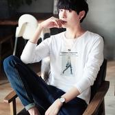 長袖T恤男士韓版秋季修身上衣服青少年打底衫圓領印花潮流男體恤