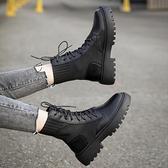 短靴 顯腳小馬丁靴女英倫風夏季透氣網紗薄款針織襪靴百搭厚底短靴子潮 芊墨左岸