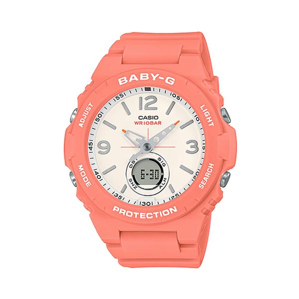 CASIO手錶專賣店 BGA-260-4A BABY-G 露營風雙顯女錶 樹脂錶帶 褪色橘 防水100米