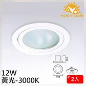 HONEY COMB 一般家用型LED 12W 崁燈 2入一組TK3105-3 黃光