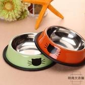 2個裝 不銹鋼寵物碗加厚防滑貓碗狗碗寵物食盆【時尚大衣櫥】