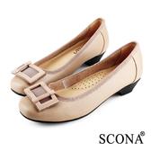 SCONA 全真皮 簡約舒適方釦跟鞋 淺可可色 22335-2