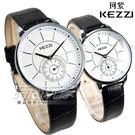 KEZZI珂紫 時尚小秒盤設計腕錶 女錶 皮革錶帶 白色 KE1287白小