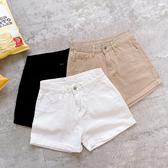 MUMU【P48370】棉質高腰捲邊短褲。S-L。三色
