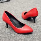 春秋新款單鞋職業軟皮細跟尖頭工作鞋黑白色女士皮鞋工裝高跟女鞋 聖誕節禮物熱銷款