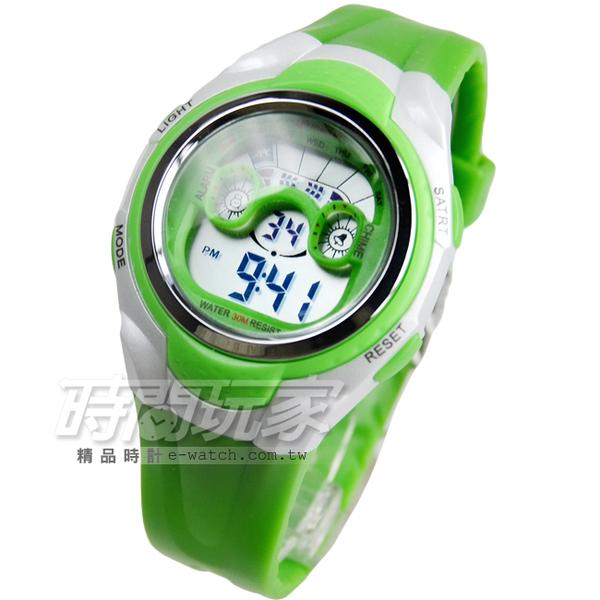 MINGRUI 輕便多功能計時腕錶 學生電子錶 兒童手錶 女錶 鬧鈴 日期 冷光照明 防水手錶 MR8580綠
