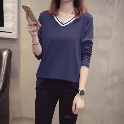 XL-4XL韓版大碼女裝秋裝胖mm棉花糖長袖T恤簡約百搭上衣.2F060.6820胖胖唯依