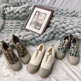 豹紋一腳蹬平底毛毛鞋女冬外穿加絨2018新款網紅棉鞋豆豆鞋 歐亞時尚