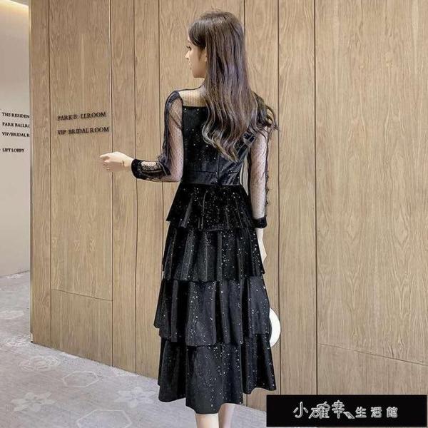 金絲絨洋裝休閒新款小香風氣質黑色網紗拼接中長款蛋糕連衣【全館免運】
