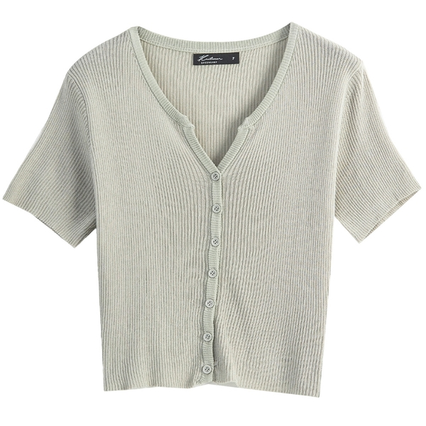 Queen Shop【01012676】V領排釦針織短版開襟上衣 五色售*現+預*