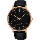 agnes b. 法國時尚LOGO 手錶-黑色x玫塊金框/41mm VJ21-KBF0K(BH8050X1)