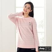 【JEEP】女裝北極熊圖騰條紋長袖T恤-粉色