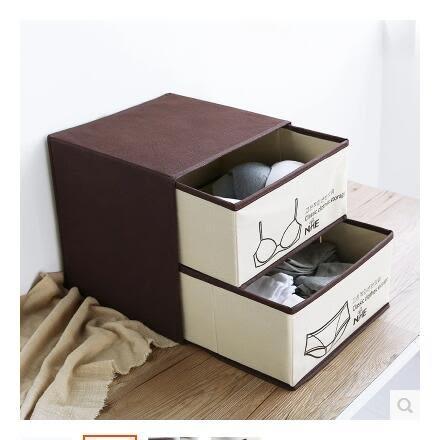 聚可愛雙層抽屜式衣物收納盒多功能布藝內衣褲收納整理盒