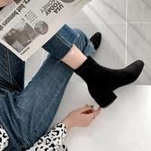 襪靴 彈力網紅瘦瘦靴小跟短靴粗跟2019新款春秋單靴子女秋款襪靴冬女鞋【快速出貨】