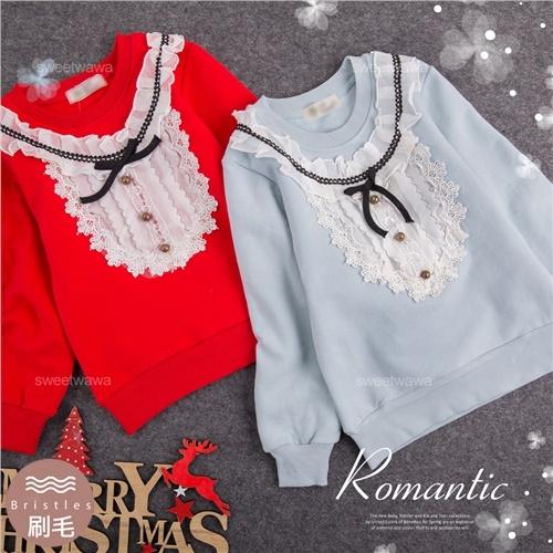 禦寒保暖~優雅荷葉雪紡圍邊長袖上衣~2色(厚棉,內刷毛)聖誕新年(300748)【水娃娃時尚童裝】
