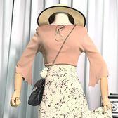 新款純色氣質百搭上衣韓版喇叭袖顯瘦港味潮流針織衫女