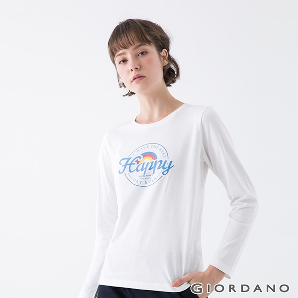【GIORDANO】女裝Choose Happy印花T恤 - 51 皎白