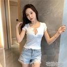 低胸T恤網紅ins打底衫修身顯瘦短袖t恤女夏裝低胸潮短款性感小心機上 快速出貨