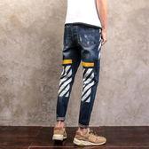 新款牛仔長褲男士 加肥大尺碼修身休閒小腳褲正韓潮流男褲子