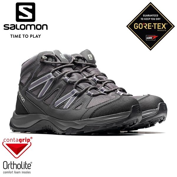 【SALOMON 索羅門 女 LEIGHTON GTX中筒登山鞋《靜灰/磁灰/霧紫》】412279/防水越野鞋/戶外健行鞋