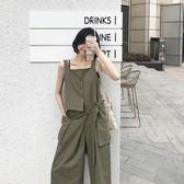 高腰闊腿寬管褲女韓版寬鬆顯瘦薄款工裝背帶連體九分褲潮 盯目家