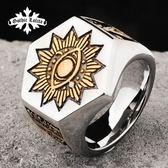 惡魔之眼戒指男共濟會歐美復古霸氣朋克單身男個性潮人鈦鋼食指戒【聖誕交換禮物】