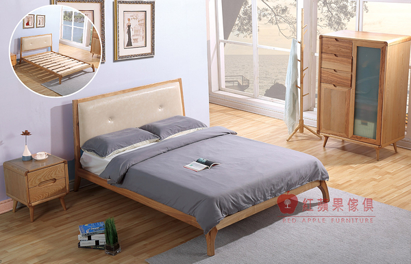 [紅蘋果傢俱] C-002 日式床架 白蠟木床台 全實木 床頭櫃