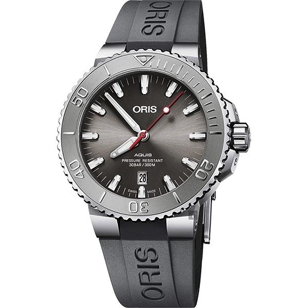ORIS 豪利時 Aquis Relief 日期潛水機械錶-灰x灰色錶帶/43.5mm 0173377304153-0742463EB