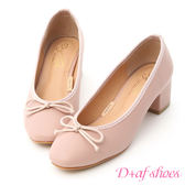 D+AF 輕漾甜美.小蝴蝶中跟芭蕾娃娃鞋*粉