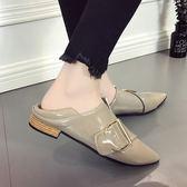 尖頭單鞋子平底皮帶扣豆豆樂福鞋兩穿漆皮英倫風女鞋