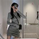長袖洋裝 心機圓領抽繩包臀連身裙 仙女早秋季高腰短氣質顯瘦一步裙  降價兩天