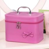 新款蝴蝶結化妝包防水洗漱品護膚品收納包大容量韓版手提化妝箱 居享優品