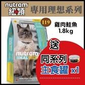 【送同系列主食罐*1】*WANG*紐頓《專業理想系列-I19三效強化貓/雞肉鮭魚配方》1.8kg