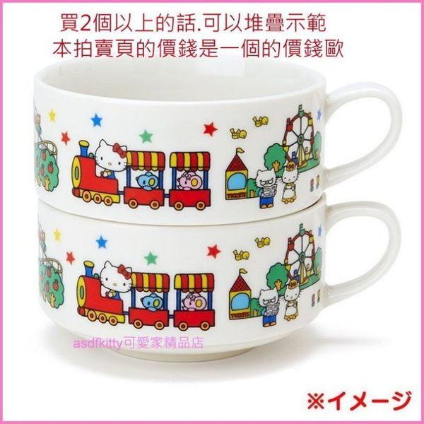 asdfkitty可愛家☆日本金正陶器 KITTY遊樂園-陶磁湯杯/湯碗-30802-可微波-日本製