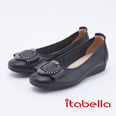 itabella.圓型飾扣楔型真皮跟鞋(9678-90黑色)
